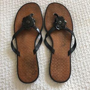 Coach Black Leather Flower Flip Flop Sandals SZ 10